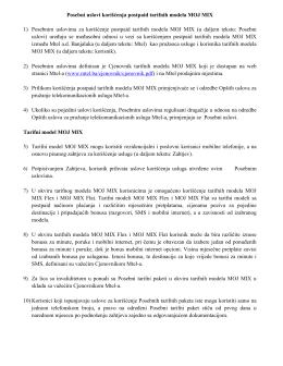 Posebni uslovi korišćenja postpaid tarifnih modela Moj Mix