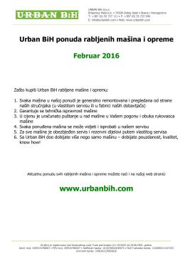 Katalog rabljenih masina i opreme Februar 2016