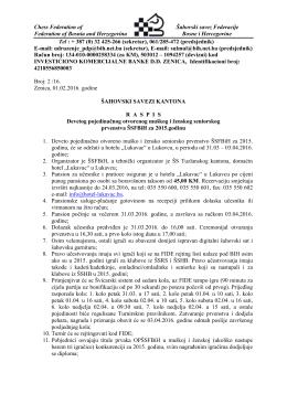 Raspis - Sahovski savez Federacije Bosne i Hercegovine
