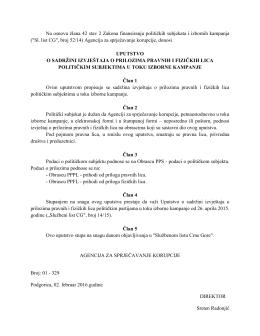 Uputstvo o sadržini izvještaja o prilozima pravnih i fizičkih lica