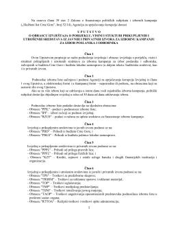 Uputstvo o obrascu izvještaja o porijeklu, visini i stukturi prikupljenih