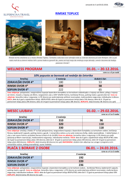 wellness program 01.01. – 20.12.2016. mesec