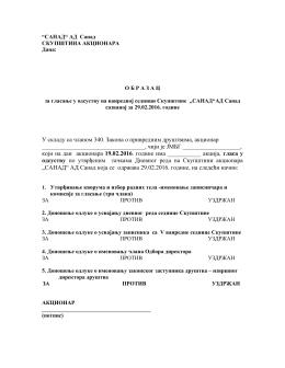 Formular za glasanje u odsustvu