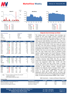 MarketView Weekly - Brokerska kuća M&V Investments Beograd
