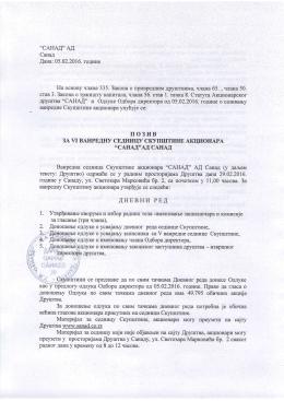 Poziv za VI vanrednu sednicu Skupštine akcionara