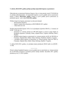 U subotu, 06.02.2015. godine pocinje prodaja mjesecnih