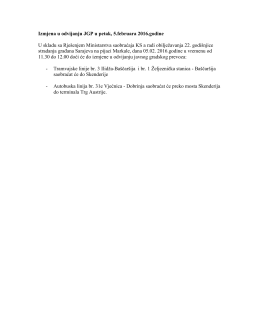 Izmjena u odvijanju JGP u petak, 5.februara 2016.godine