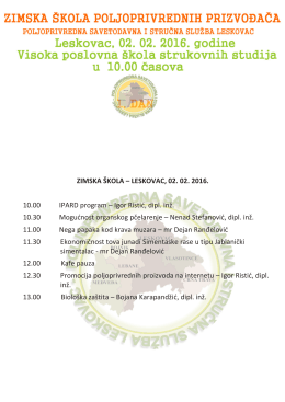 ZIMSKA ŠKOLA – LESKOVAC, 02. 02. 2016. 10.00 IPARD program
