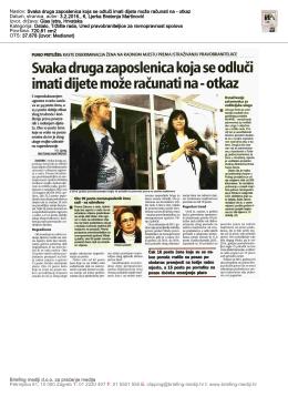 Glas Istre, 3.2.2016 - Pravobraniteljica za ravnopravnost spolova