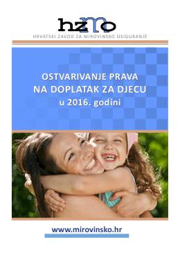 NA DOPLATAK ZA DJECU - Hrvatski zavod za mirovinsko osiguranje