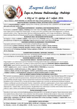 župni listić - Župa Svetog Antuna Padovanskog, Podvinje