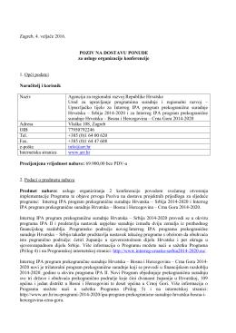 Zagreb, 4. veljače 2016. POZIV NA DOSTAVU PONUDE za usluge