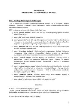 amandmani na prijedlog zakona o porezu na dobit