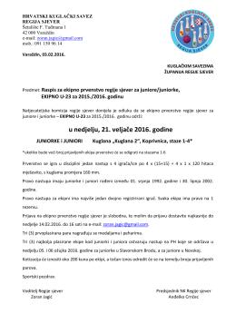 Raspis za ekipno RS U-23