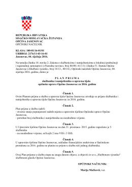 Plan prijema za 2016. Općina Jasenovac