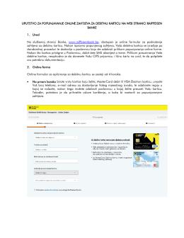 Uputstvo za popunjavanje online zahtjeva za debitnu karticu