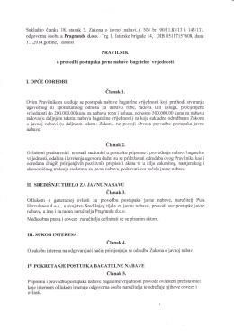 Pravilnik o provedbi postupaka JN bagatelne