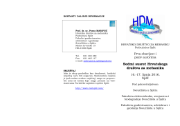 Prvi poziv na 7. susret HDMa - Hrvatsko društvo za mehaniku