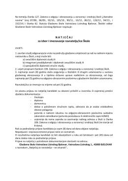 N A T J E Č A J za izbor i imenovanje ravnatelja/ice Škole