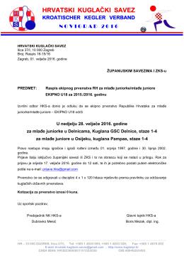 Raspis ekipno U18 - Hrvatski kuglački savez