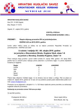Raspis ekipno U23 - Hrvatski kuglački savez