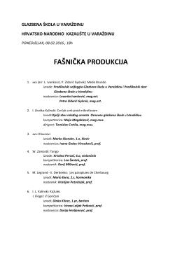 Program fašničke produkcije - Glazbena škola u Varaždinu