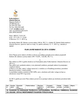 Plan javne nabave 2014. - Pučka knjižnica i čitaonica Daruvar