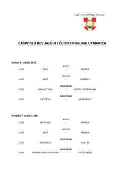 Termini odigravanja četvrtfinalnih utakmica