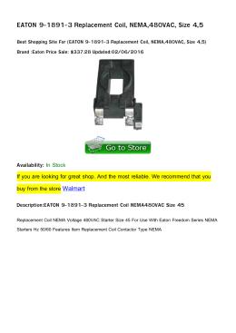 EATON 9-1891-3 Replacement Coil, NEMA,480VAC, Size 4,5