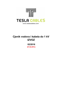 Izvoz - važeći cjenik sa 01.02.2016.