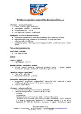 Prevádzkovo-organizačný pracovník/čka