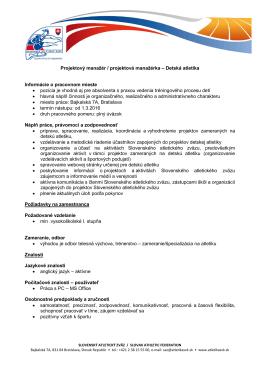 Projektový manažér / projektová manažérka – Detská atletika