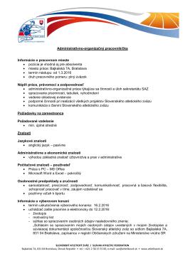 Administratívno-organizačný pracovník/čka Informácie o pracovnom