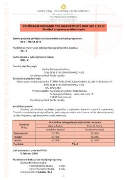 Prijímacie konanie 2016/2017 na bakalársky stupeň štúdia