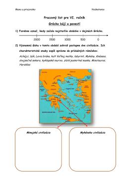 Pracovný list pre VI. ročník Grécko bájí a povestí