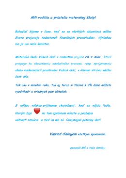 Milí rodičia a priatelia materskej školy!