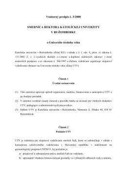 Smernica o Univerzite tretieho veku na KU