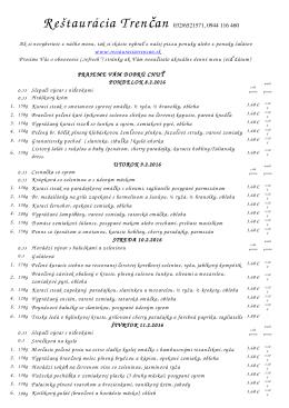 Denné menu - Reštaurácia Trenčan
