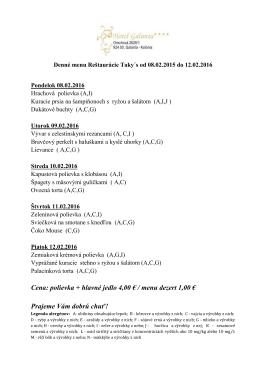 Denné menu - Hotel Galanta