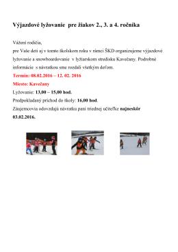 Ponuka na výjazdové lyžovanie 2016