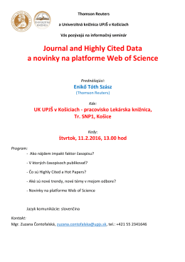 Journal and Highly Cited Data a novinky na platforme Web of Science