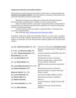 Slovenskí ekonómovia pôsobiaci na Slovensku a v zahraničí