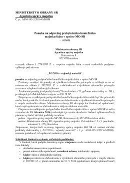 Agentúra správy majetku Bratislava - P-2/2016