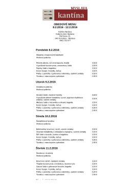 Kantína Myslava | Obedové menu