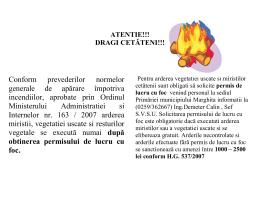 Atentionare cu privire la arderea miristii, vegetatiei uscate si