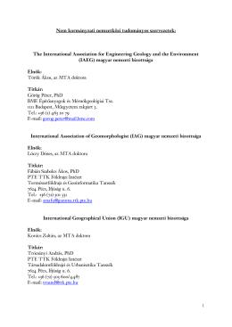 1 Nem kormányzati nemzetközi tudományos szervezetek: The