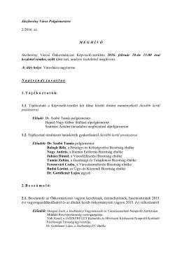 Jászberény Város Polgármestere 2/2016. sz. M E G H Í V Ó