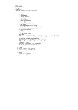 Kisérettségi angol nyelvből.írásbeli követelmények 2015-2016