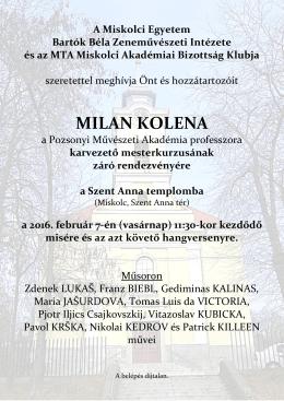 MILAN KOLENA - Miskolci Egyetem
