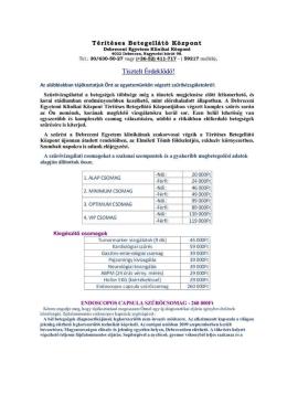 Debreceni klinika térítéses vizsgálatok